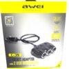 Adaptor Spliter, tripla pentru bricheta auto Awei 3 porturi 2xUSB 3.1A Negru